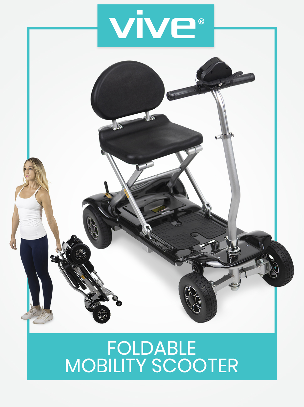 Foldable Mobility Scooter - Electric Powered Portable Wheelchair - 4 Wheel Light and Compact Mobile