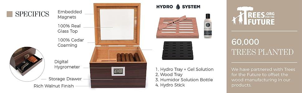 Hydro tray system humidor 25 50 sealed humidity wooden candor winder humidifier handmade tobacco