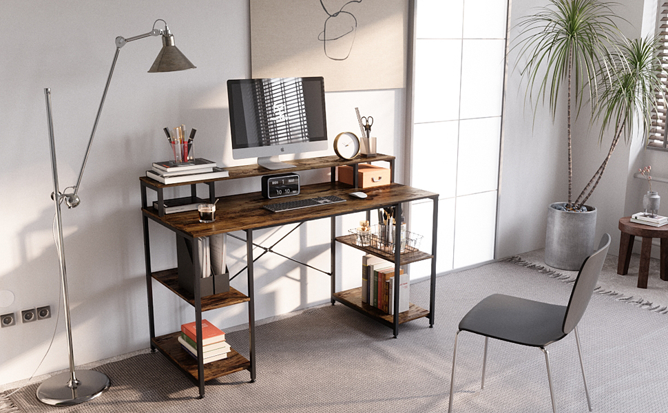 Large Computer Desk with Monitor Shelf / Hutch