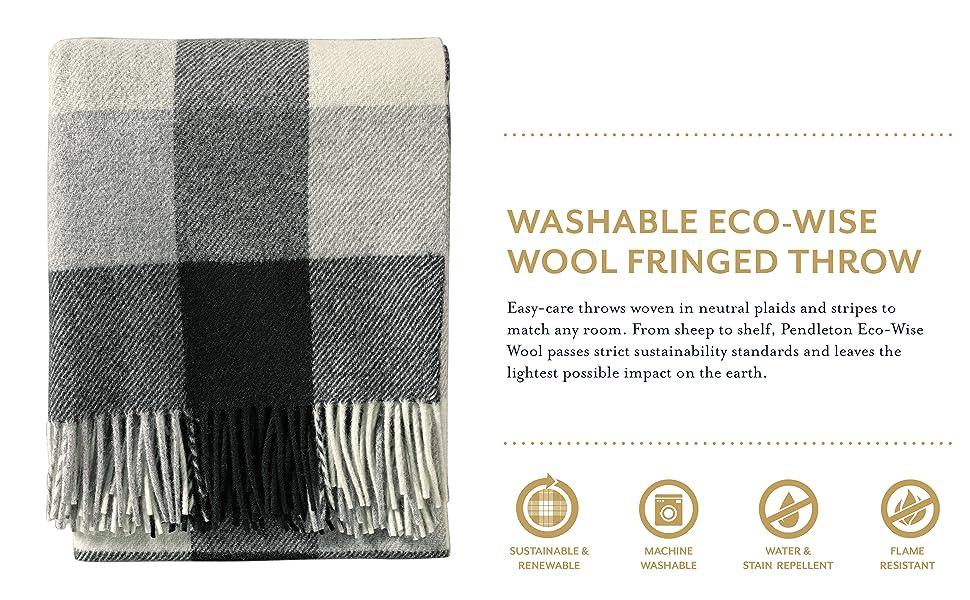 Washable Eco-Wise Wool Fringed Throw