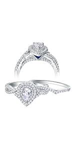 Newshe Wedding Rings Set for Women Engagement Ring