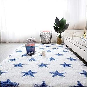 Grand tapis lavable à poils longs pour chambre à coucher, salon.