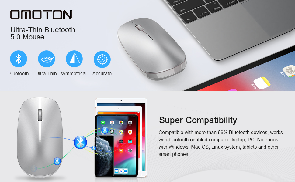 iPadOS 13 // iOS 13 and Above Compatible with for iPad and iPhone iPad Mini 5 OMOTON Mouse for iPad Compatible with New iPad 10.2 Updated System to iPadOS 13 iPad Pro 12.9//11.0 and Other Bluetooth Enabled Devices,Rose Gold