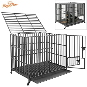 heavy duty dog pen Strong Metal Kennel Heavy Duty Dog Cage Pet Playpen with Wheels