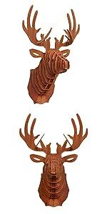 Hertenkop - wanddecoratie in patina look