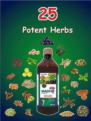 Alpine Pharmaceuticals ALPMADHU Glucose Medicine Ayurvedic Herbal 25 Potent Herbs Sugar Free Control