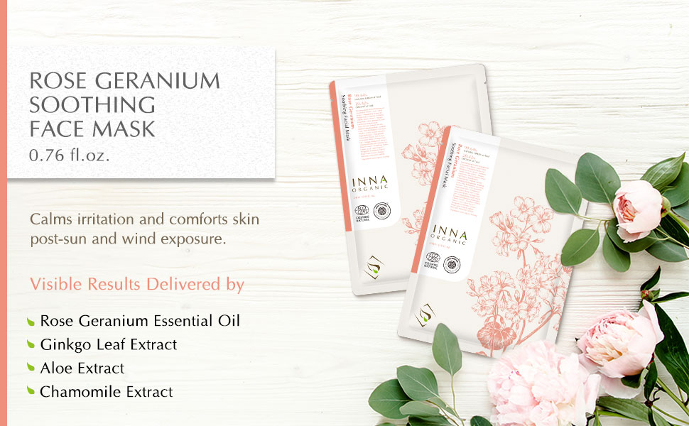 skin sheet mask rose geranium essential oil soothing relaxing calming sun burn