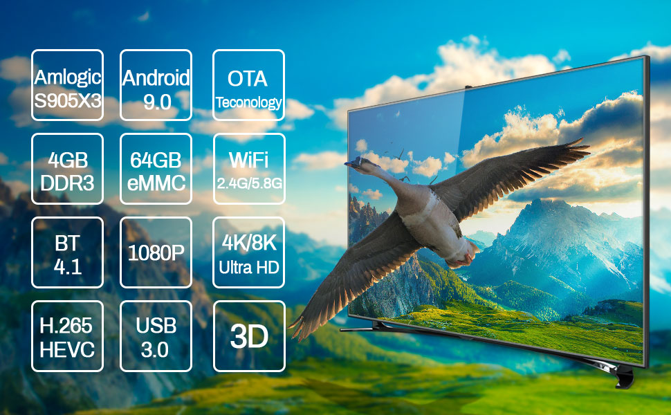 A95X F3 AIR Support 1080P / 4K / 8K Ultra HD and 3D Movies