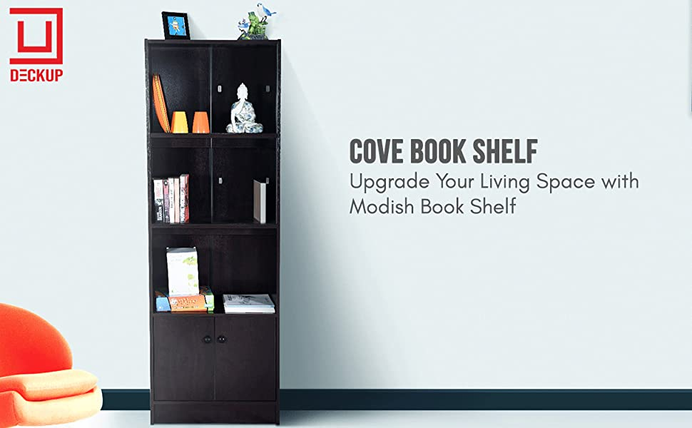 DeckUp Cove Book Shelf/Display and Storage Unit (Dark Wenge, Matte Finish SPN-FOR1