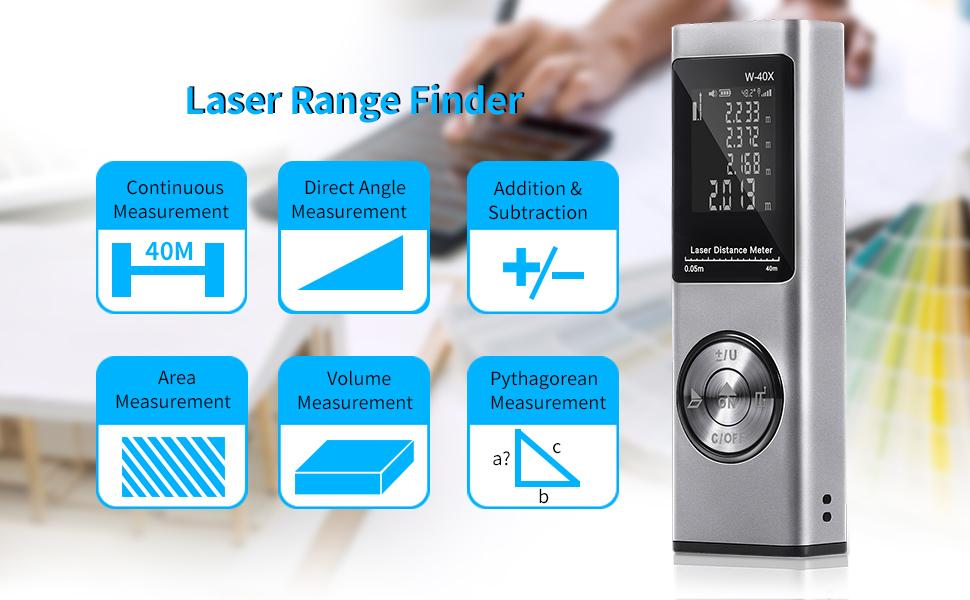 Tooltoo Laser Entfernungsmesser 40 M Tragbar Wiederaufladbar über Usb Hintergrundbeleuchtung Und Elektronisches Niveau Volumen Oberfläche Pythagore Silberfarben Baumarkt