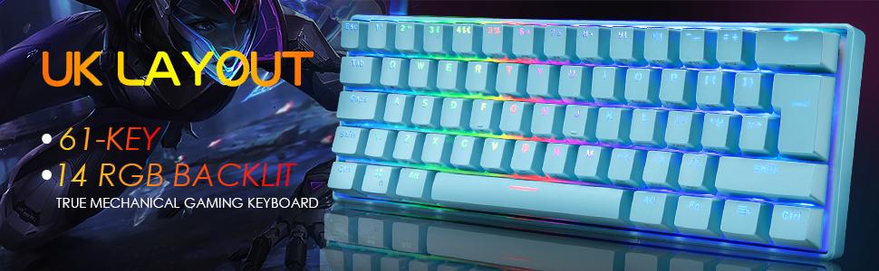 Uk Layout 60 Mechanische Gaming Tastatur Typ C Computer Zubehör