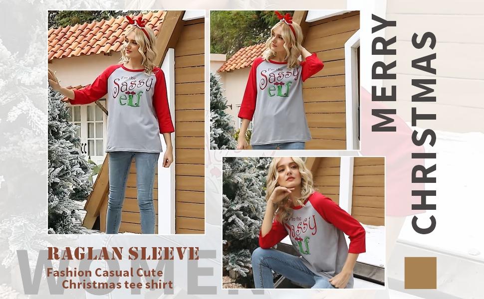 Women's Christmas Baseball T-Shirt 3/4 Sleeve Raglan O-Neck Splicing Plaid Tees Top