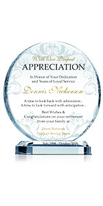 Personalized Crystal Employee Retirement Appreciation Gift Plaque