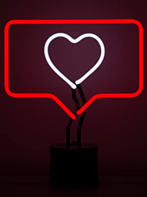 Amped Co Fave Neon Desk Light The Like Sign Symbol Real Neon Red Box Outline And White Heart Facebook Instagram Social Media Counter Large 13 X 11 Inches Home Decor Neon