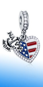 925 Sterling Silver Dangle Navy MOM Anchor and Enamel American Flag Heart Charms