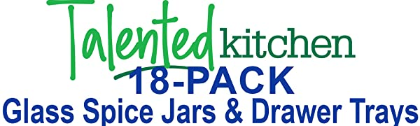 18-PACK Glass Spice Jars & Drawer Trays by talented kitchen