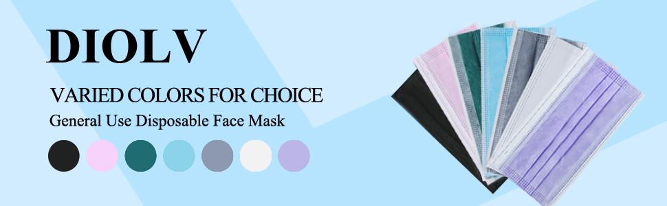 diolv kids face mask disposable black pink purple face masks for children blue white grey green
