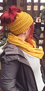 matching messy bun beanietail and infinity scarf
