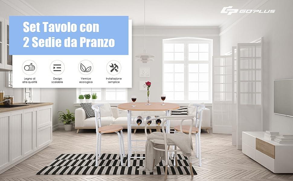 in Legno e Metallo Set Mobili Salvaspazio Stile Moderno Naturale+Nero Goplus Set Tavolo con 2 Sedie da Pranzo