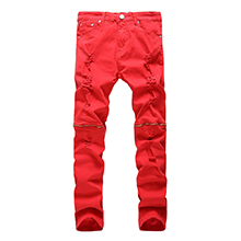 red ripped biker jeans for men
