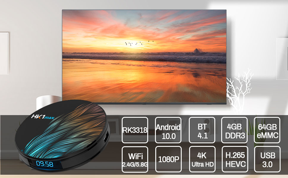 HK1 MAX Android TV box Supports 1080P / 4K Ultra HD and 3D Movies