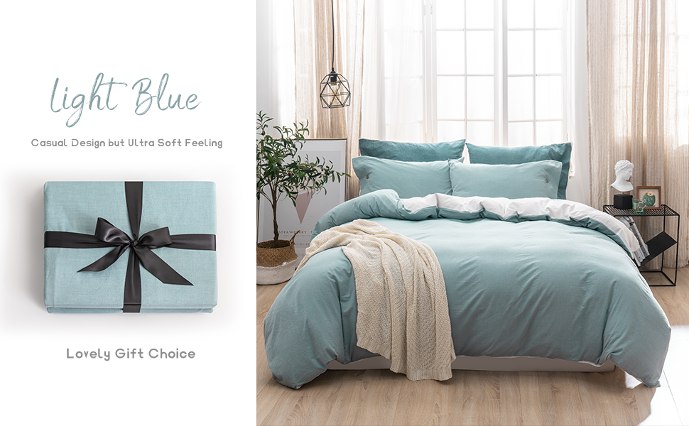 100% Washed Cotton Duvet Cover Set 3 Pieces Luxury Soft Bedding Set with Buttons Closure Solid Color