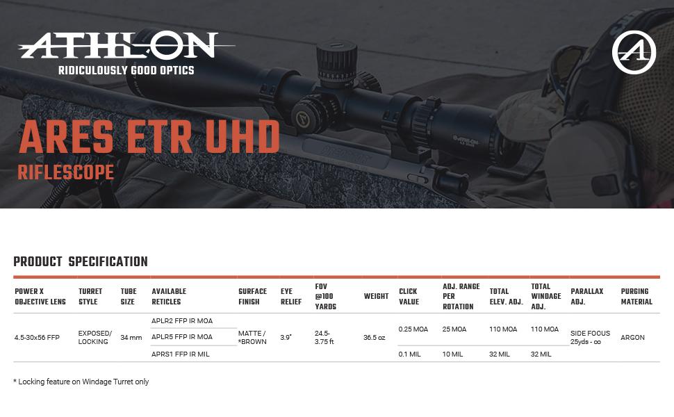 Athlon Optics Ares ETR UHD Riflescope Spcification