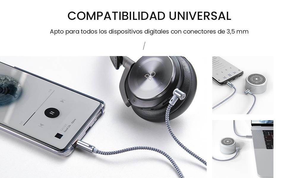 Cable Jack, Cable Audio Auxiliar de Jack Cable de Audio Estéreo ...