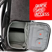 Quick side access compartment allows for reaching the camera in a flash.Q uick spare memory card