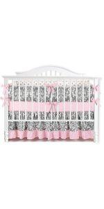7 Pieces of Crib Bedding Set - Greyamp;Pink