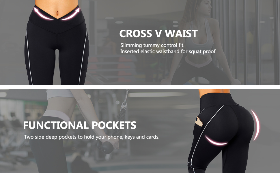 cross waist leggings with pockets