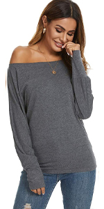 Women's Off The Shoulder Sexy Tops Long Sleeve Casual T Shirt Blouse Tunic