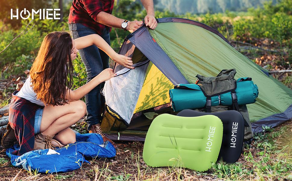 Almohada de Aire Soporte de Viaje Lumbar//Monta/ñismo//Avi/ón//Playa//Picnic Verde Port/átil Port/átil Ultraligero con Almohada de Viaje Compacta y Compacta HOMIEE Almohada de Camping