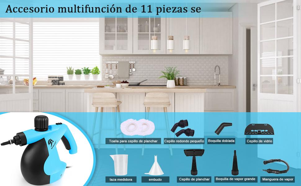 MLMLANT - Limpiador de vapor multiusos 350 ml – limpiador a vapor de mano con 11 accesorios para eliminar manchas con alfombra, azulejos, asientos de coche: Amazon.es: Bricolaje y herramientas