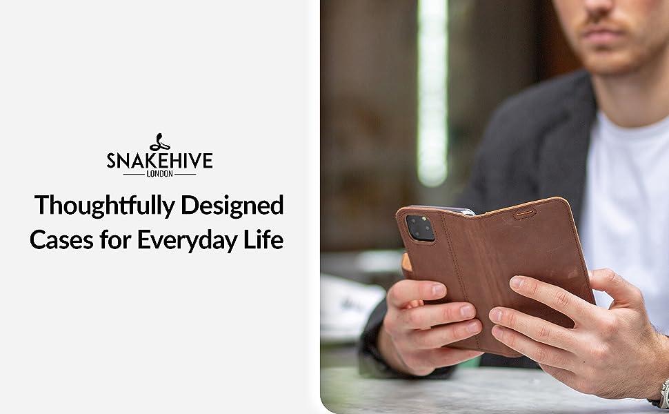 Snakehive Samsung Galaxy Note 10 Plus Funda con una Cartera incorporada en Piel Nobuk con una Ranura para Las Tarjetas de Cr/éditos o Billetes Oro Scuro