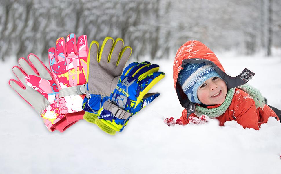 TRIWONDER Gants de Ski Enfants Moufles Neige Gants dhiver Polaire Moufles de Ski Chaud Gants Neige Snowboard pour Gar/çon Fille