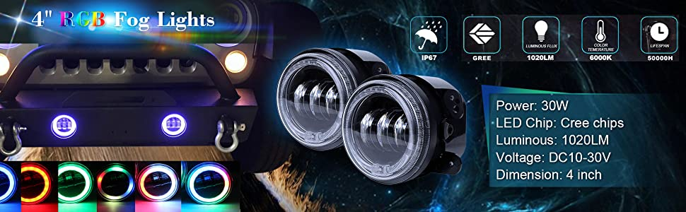 """4"""" RGB Fog Lights with RGB Halo Ring for Jeep Wrangler 1997 1998 1999 2000 2001 2002 2003 2004 2005"""