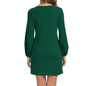 Women's Knit Pullover Sweatshirt Dress Knot Front Long Sleeve Casual Bodycon Mini Dress