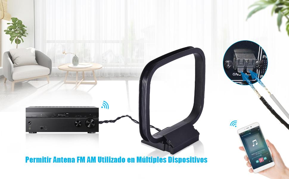 Bingfu Antena FM Dab Interior y Antena Am Bucle 75 Ohm Antena Telescópica Magnetic Base para Denon Pioneer Onkyo Yamaha Receptor de Estéreo Radio ...