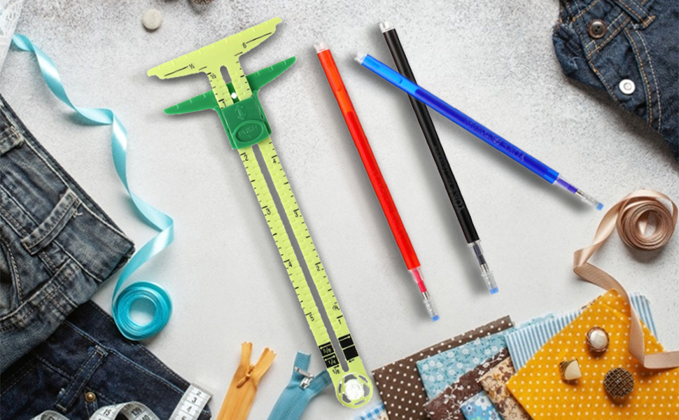 T-Shaped Sliding Gauge Sewing Measuring with 4 Colors Heat Erase Pens for Fabric