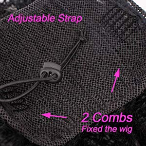 Long Lightweight Black Synthetic Loose Kinky Curly Hair Extensions Drawstring Ponytail Hairpiece