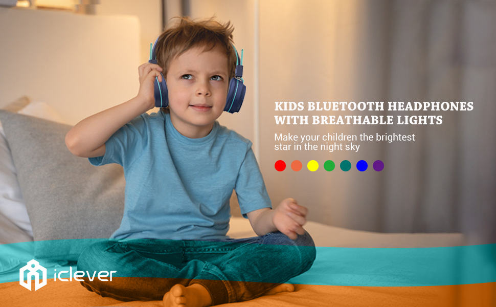 bluetooth headphones headphones for kids kids headphones bluetooth headphones wireless headphones - IClever BTH03 Kids Bluetooth Headphones, Colorful LED Lights Kids Headphones With MIC, 25H Playtime, Stereo Sound, Bluetooth 5.0, Foldable, Childrens Headphones On Ear For Study Tablet Airplane, Blue