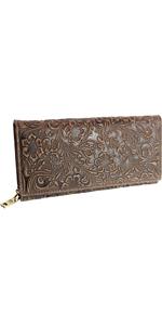 Billetera de piel auténtica con relieve, color marrón
