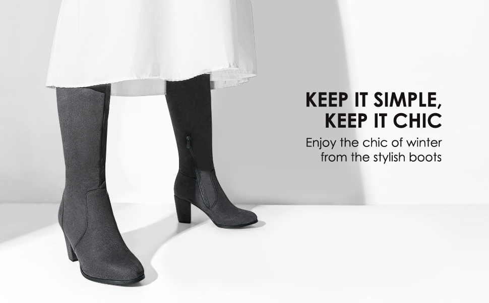 knee high boots for women with heel