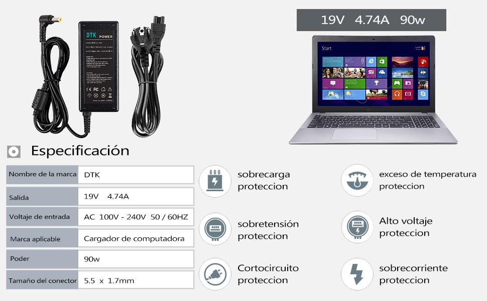 DTK® Computadora portátil Cargador Fuente de alimentación Adaptador Unidad de alimentación para portátil ACER Output: 19V 4.74A 90W Cargadore y ...