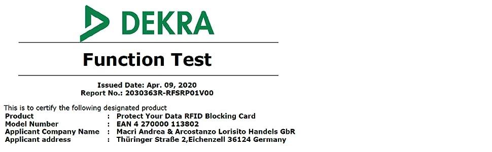 DEKRA, TÜV, Geprüft, Getestet, Zertifiziert, Funktion, Protect Your Data RFID Blocker Karte