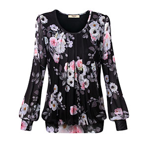 Women'S Work Tops And Blouses,Timeson Ladies Banded Bottom Shirts Fancy Black Floral Tunic