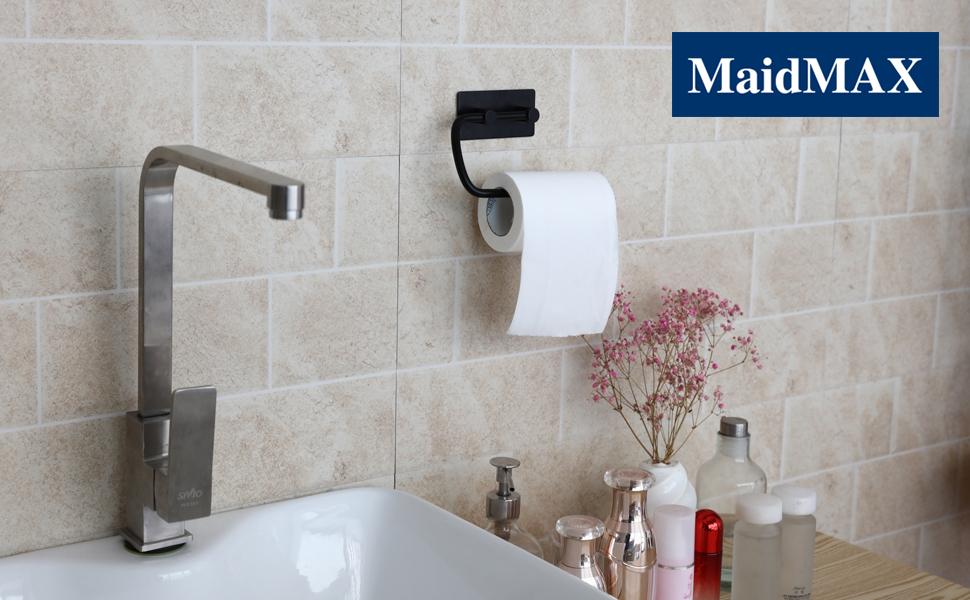 Porta/Rotolo Carta/Igienica con 2 Ganci Portarotoli Carta Adesivo da Parete per Bagno e Toilette,304 Acciaio Inox Porta/Rotolo/Carta/Igienica nero