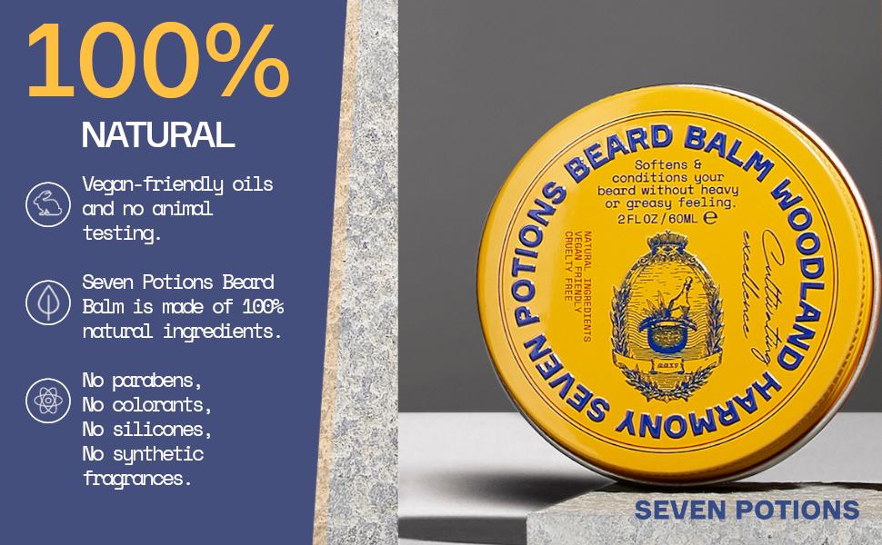 100% percent natural yellow beard balm organic vegan friendly no parabens no animal testing