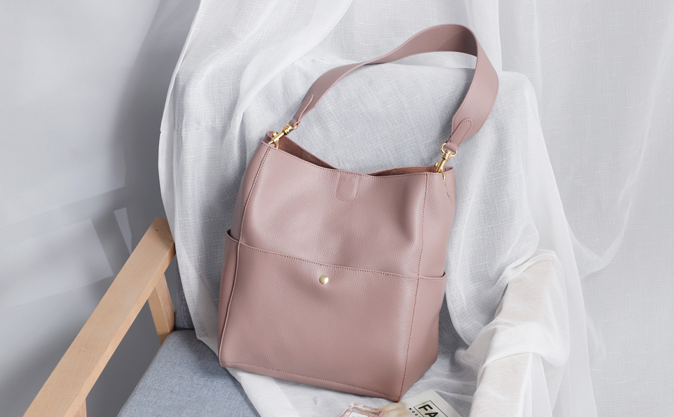 A3891 Pink Genuine Leather Purses and Handbags Bucket Tote Bag